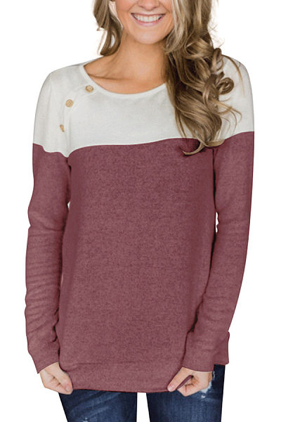 Button-Decorated Long-Sleeved T-Shirt