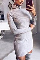 High Neck Sheath Plain Bodycon Dresses