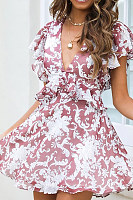 Fashion Sexy Backless V-Neck Print Dress
