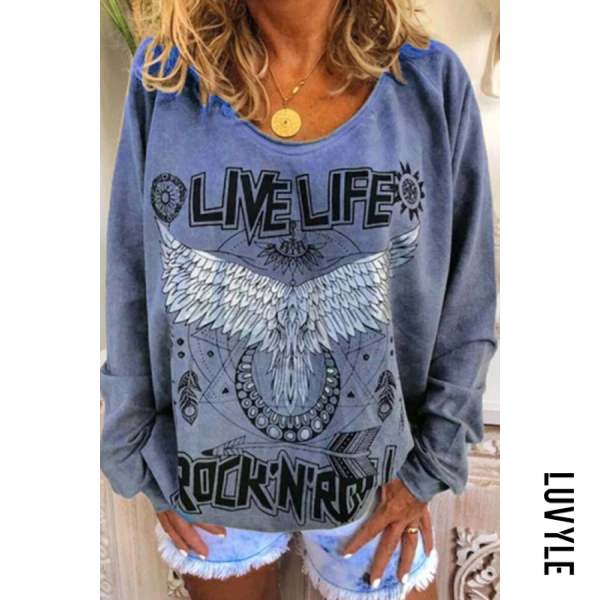 Blue Loose round neck printed hoodie for women Blue Loose round neck printed hoodie for women