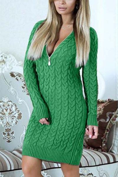 35a7de8fdd8 Deep V Neck Zipper Plain Sweater Bodycon Dresses - Luvyle.com