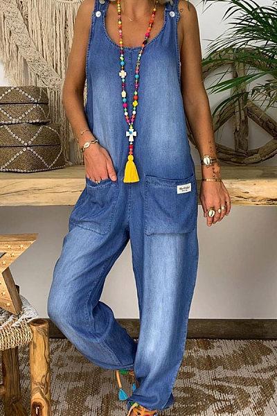 Casual Denim Blue Button Double Pocket Bib