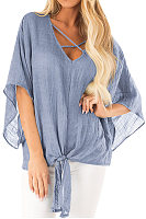 V Neck  Lace Up  Plain  Batwing Sleeve Blouses