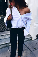 Turn Down Collar  Cross Straps Single Breasted  Plain  Blouses