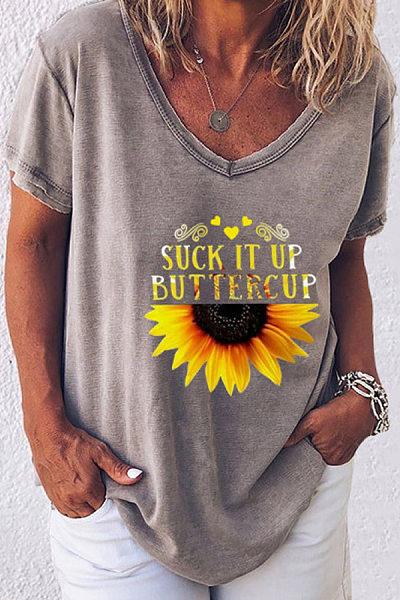 Sunflower Printed Loose T-shirt