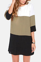 Round Neck  Color Block Patchwork  Half Sleeve Casual Dresses