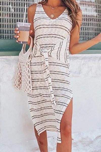 V Neck Lace Up Stripes Sleeveless Maxi Dresses