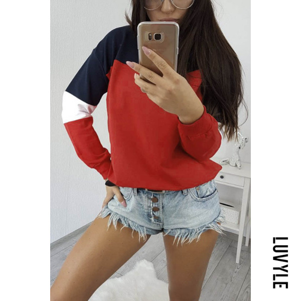 Red Round Neck Color Block T-Shirts Red Round Neck Color Block T-Shirts