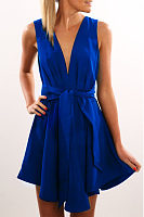 Deep V Neck  Backless  Belt  Plain  Sleeveless Skater Dresses