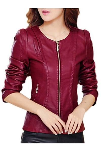 Faux Leather Plain Zipper Awesome Round Neck Jacket