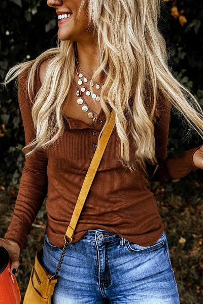 Buckle Collar Long Sleeve Plain T-Shirt