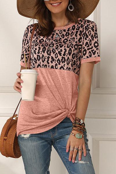 Round Neck Leopard Color Block T-shirt