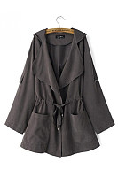 Fold Over Collar  Drawstring  Plain Trench Coat