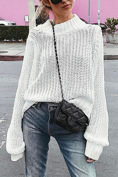 Casual Long Sleeve Round Neck Plain Sweater