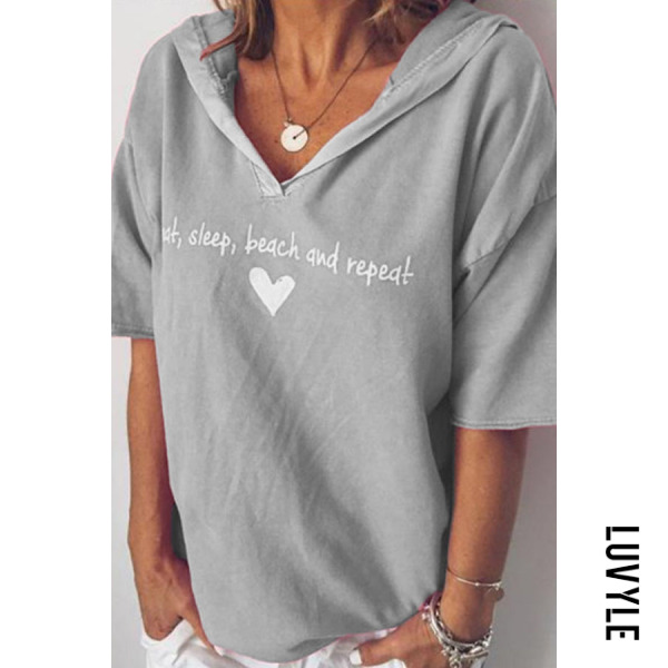 Gray V Neck Letters T-Shirts Gray V Neck Letters T-Shirts