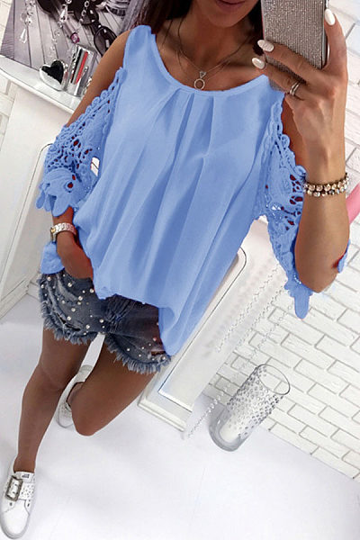 Round Neck  Bowknot Patchwork  Plain T-Shirts