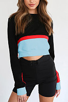 Round Neck  Exposed Navel  Patchwork  Sweatshirts