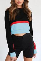 Round Neck  Exposed Navel  Patchwork  Sweatshirts