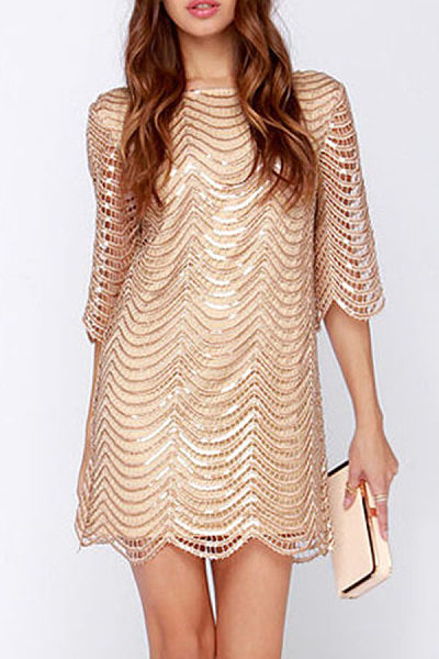 Round Neck  Backless  Glitter  Half Sleeve Party Dresses