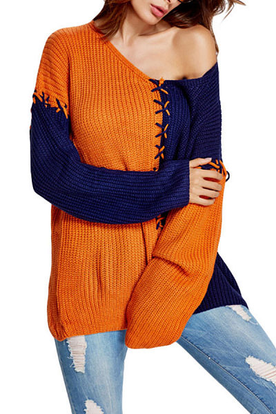 V Neck  Color Block Sweaters