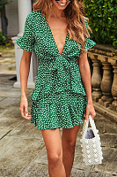 Tie Up Neck Green Floral Print Mini Dress