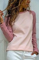 Casual And Comfortable Pink Raglan Sleeve Sweater