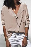 Casual V-Neck Solid Color Pocket Long Sleeve Loose Shirt