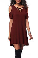 Open Shoulder V Neck  Lace Up  Plain Casual Dresses