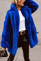 Ladies Fashion Royal Blue Faux Fur Coat