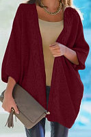 Casual Collarless Batwing Sleeve Plain Knit Cardigan