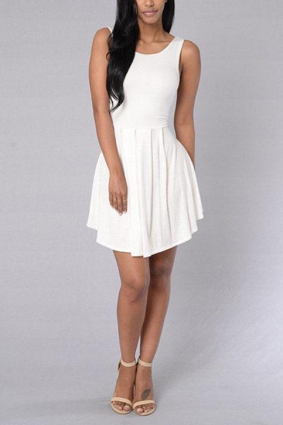 Backless Plain Sleeveless Skater Dresses