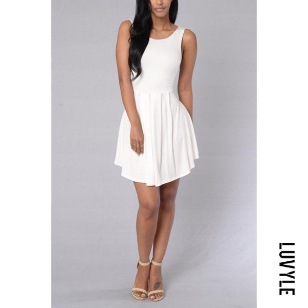 White Backless Plain Sleeveless Skater Dresses White Backless Plain Sleeveless Skater Dresses