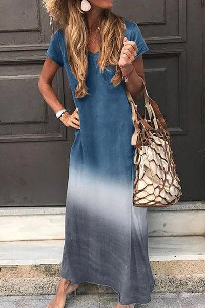 Gradient Coloring Short Sleeve Maxi Dress