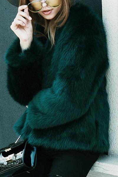 Collarless  Imitation Fox Fur Coat