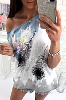 One Shoulder  Printed  Batwing Sleeve T-Shirts