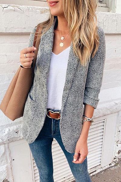 Fashion Narrow Notch Lapel Pockets Blazer