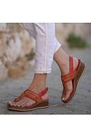 Color Block Peep Toe Casual Date Travel Wedge Sandals