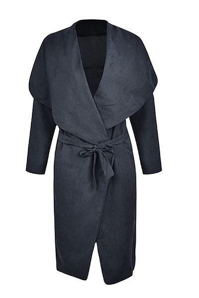 Fold Over Collar  Belt  Plain Trench Coat