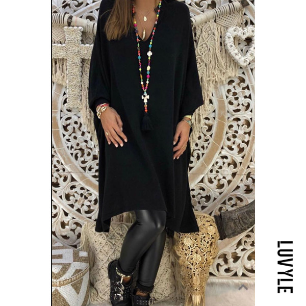 Black V Neck Plain Long Sleeve Casual Dresses Black V Neck Plain Long Sleeve Casual Dresses