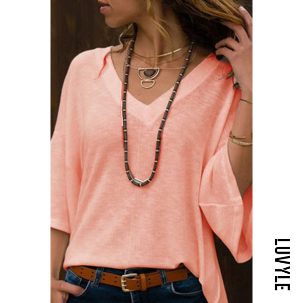 Orange Deep V Neck Bell Sleeve T-Shirts Orange Deep V Neck Bell Sleeve T-Shirts
