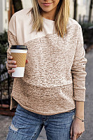 Round neck irregular stitching fashion sweater
