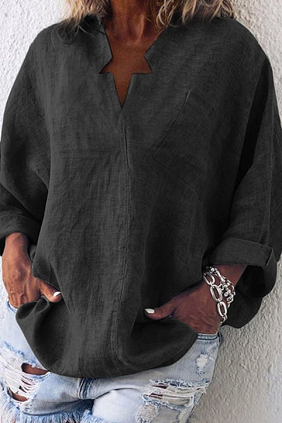 Pure Color Loose Long-Sleeved Casual Shirt