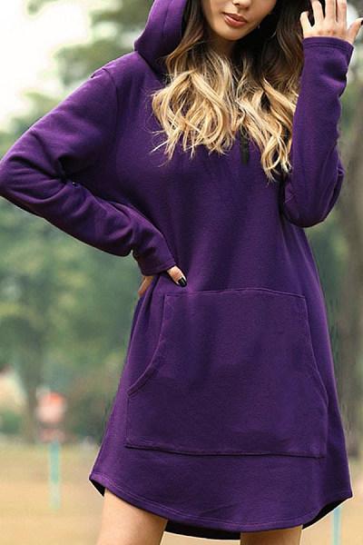 Loose solid color long sleeve hooded sweatshirt