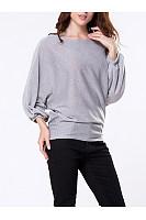 Round Neck Plain Batwing Sleeve Sweater