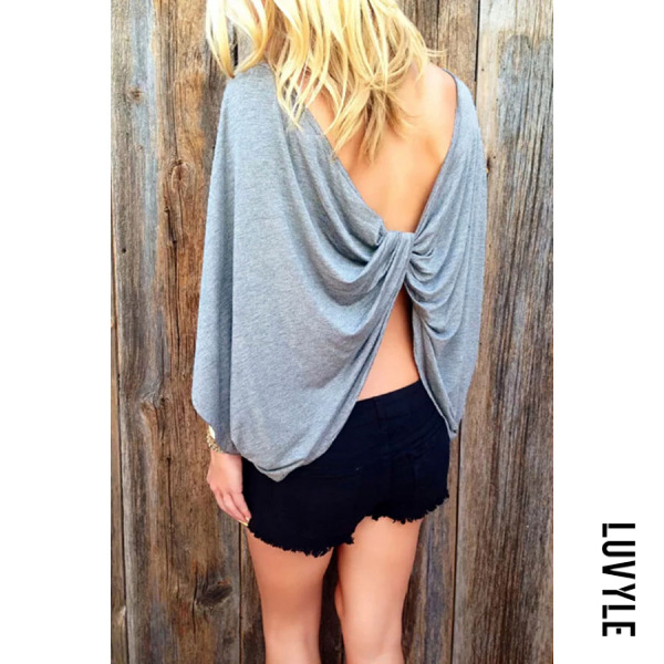 Gray Round Neck Backless Plain Batwing Sleeve T-Shirts Gray Round Neck Backless Plain Batwing Sleeve T-Shirts