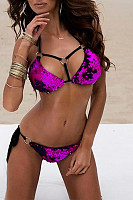Open Shoulder  Cutout Sequin  Decorative Buttons Exposed Navel  Patchwork Bikini