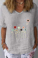 V Neck Print Short Sleeve Linen T-shirt