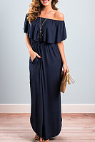 Off Shoulder  Asymmetric Hem Elastic Waist Flounce  Plain Maxi Dresses