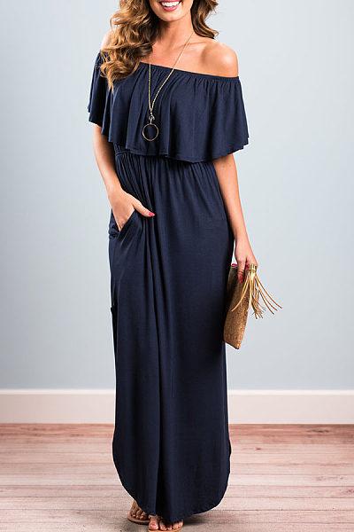 Off Shoulder  Asymmetric Hem Elastic Waist Flounce  Plain Maxi Dresses