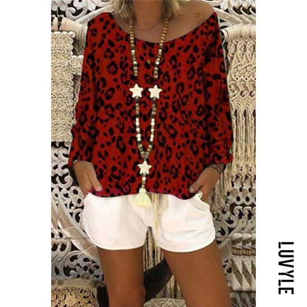 Open Shoulder Collar Leopard T-shirt